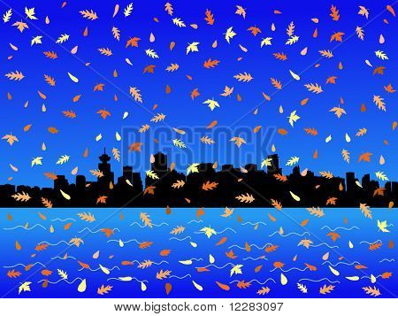 Vancouver skyline in autumn with falling leaves illustration
