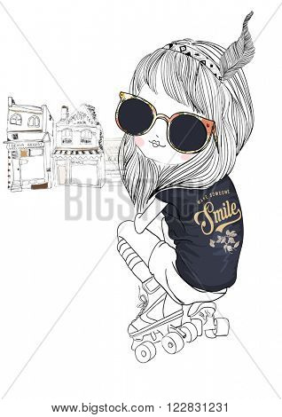 skate fashion girl with flower sunglasses