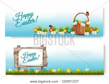 Two Happy Easter banners with Easter eggs in a basket. Vector.
