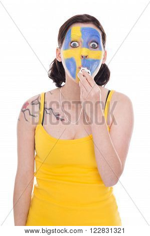 Female Swedish Soccer Fan With A Whistle