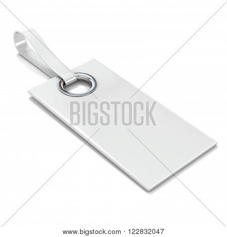 White plastic label. 3D render illustration isolated on white background