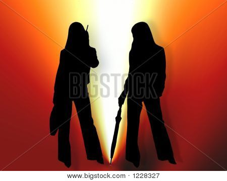 Two Women Silhouette In Bright Light