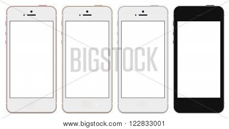 Set of four smartphones gold, rose, silver and black with blank screen. Real camera, high resolution,illustration.
