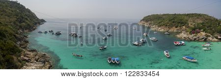 aerial view of Racha island Phuket Andaman southern of Thailand important tourist traveling destination