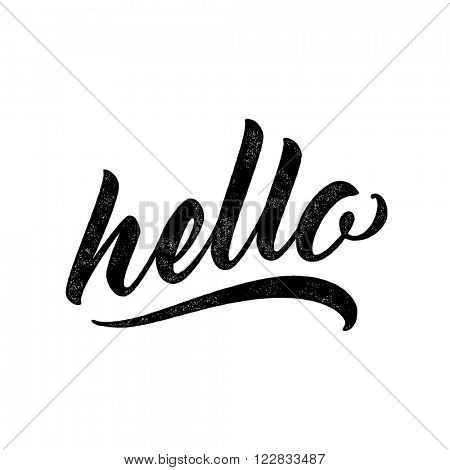 Hello - lettering for greeting card. Vector ink stamp effect.