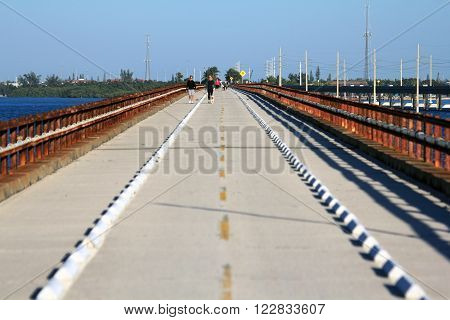 PIGEON KEY STATE PARK, FL - FEBRUARY 13, 2016: Two women and a dog take a stroll along the popular Seven Mile Bridge in the Florida Keys February 13, 2016 in Pigeon Key State Park, FL.