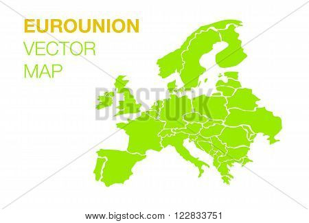 Flat vector Euro union map on white background