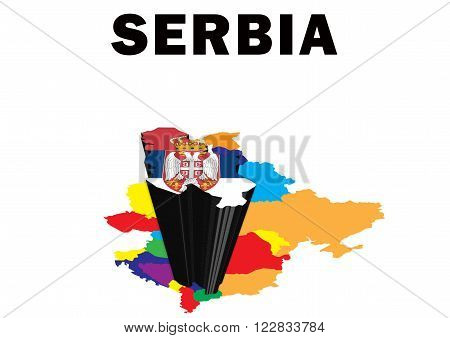 Outline map of Eastern Europe with Serbia raised and highlighted with the national flag