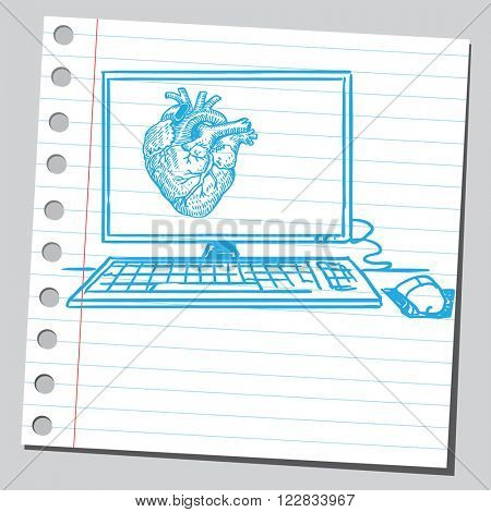Heart on computer screen