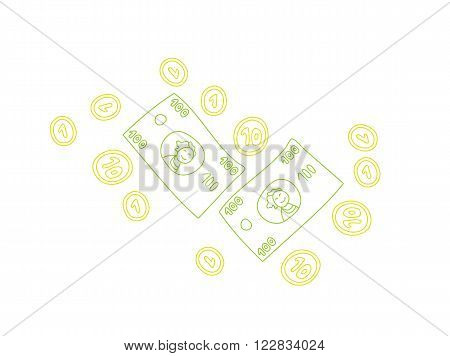 Doodle colorful line art financial elements on white