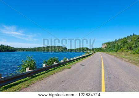 Trans Canada highway along Superior Lake shore