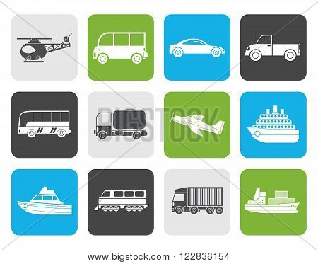 Flat Travel and transportation icons - vector icon set
