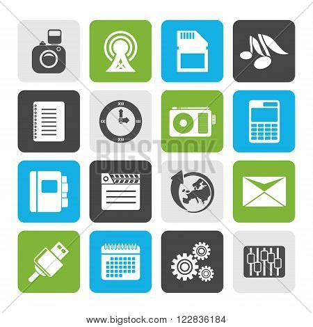 Flat Phone Performance, Business and Office Icons - Vector Icon Set