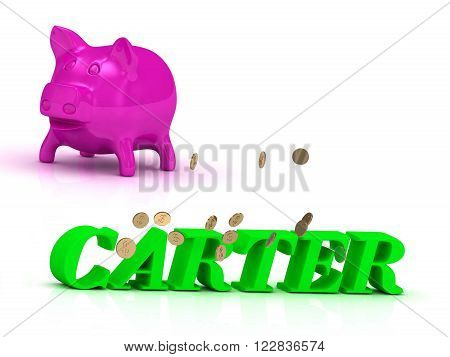 3D illustration CARTER bright of green letters and rose Piggy on white background