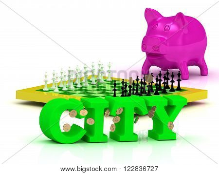 3D illustration CITY bright word money pink piggy yellow chess on white background