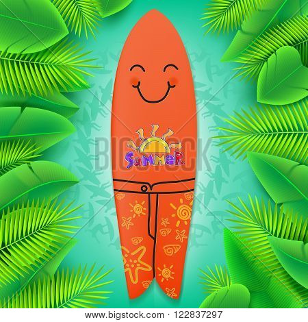 Summer Title with Surfboard smiling and a Tropical Green Leaves including Silhouette Surfers Background. Vector Illustration