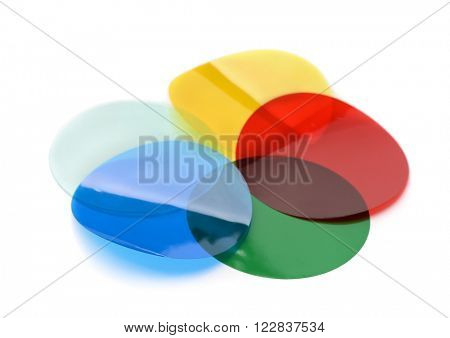 Lighting color filter gels isolated on white
