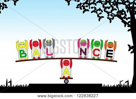 CHILDREN'S NAMES B,A,L,N,C and E DO AMAZING ACT OF BALANCING.