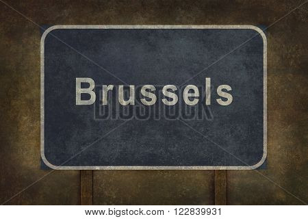 Distressed Brussels road sign illustration with ominous background