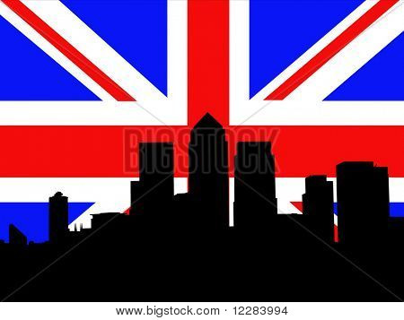 London Docklands Skyline and British Flag union jack