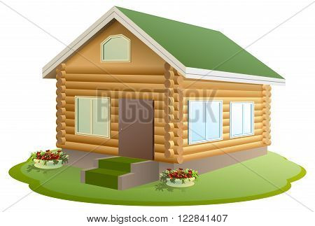 Modern wooden house. Log house. New home with green roof. Isolated on white vector illustration