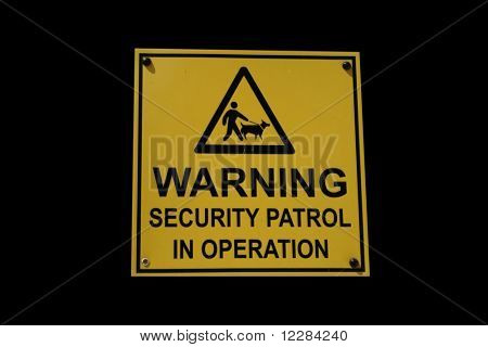 Security patrol sign man with guard dog