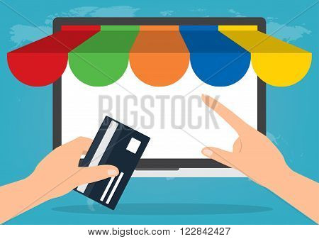 Hand holding credit card for paying in laptop notebook PC with copy space with shop online store on world map background. E-Commerce omnichannel online shopping concept.
