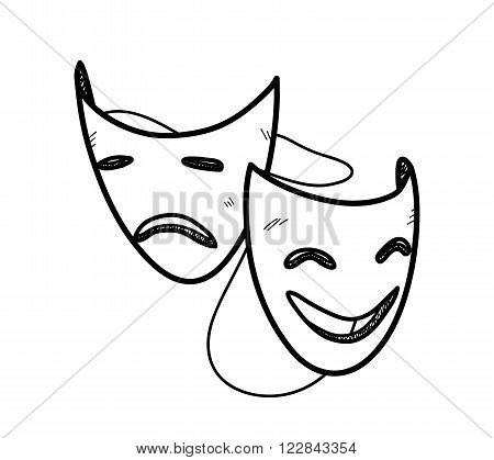 Happy and Sad Mask Doodle, a hand drawn vector doodle illustration of happy and sad expression opera masks.