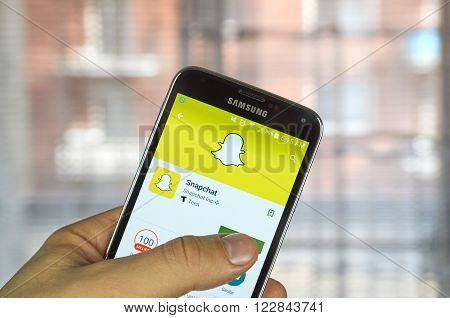 MONTREAL CANADA - MARCH 20 2016 - Snapchat application on android cell smartphone. Snapchat is a mobile messaging application used to share photos videos text and drawings.