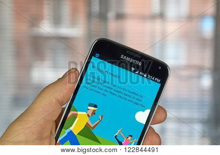 MONTREAL CANADA - MARCH 20 2016 - Microsoft Health mobile application on Samsung S5's screen. Microsoft is an American multinational technology company