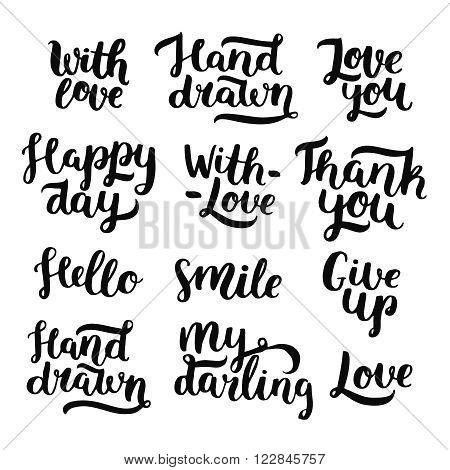 Vector photo overlays, handdrawn lettering collection. For scrapbook, greeting cards and more