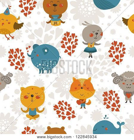 Vector seamless pattern with cute animals in love. Zoo background with fox, rabbit, cat, merinos, bird, elephant, whale and bear