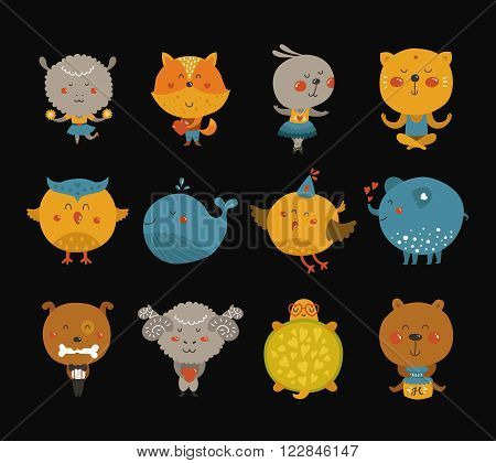 Set of Cartoon animals, cute baby animal in love. Vector fox, rabbit, cat, merinos, bird, elephant, owl and sheep on black background.