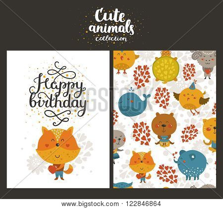 Vector animal cards, happy birthday card with cute fox and lettering. Kids birthday party
