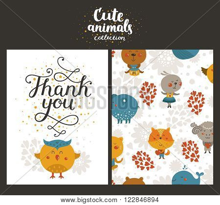 Vector animal cards, happy birthday card with lettering and cute owl. Kids birthday party