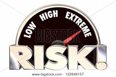 Risk Low High Extreme Speedometer Danger Level 3d Words