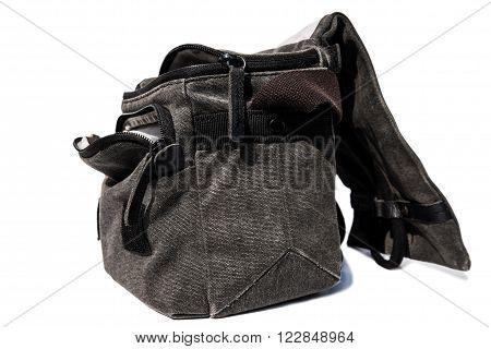Opened camera bag, isolated on white background