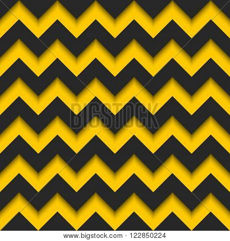 Abstract Zigzag Seamless Pattern, Black And Yellow Strips Repeating Sharp Corners 3D Background