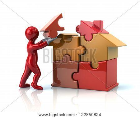 Red Cartoonn Man Builds A Puzzle House