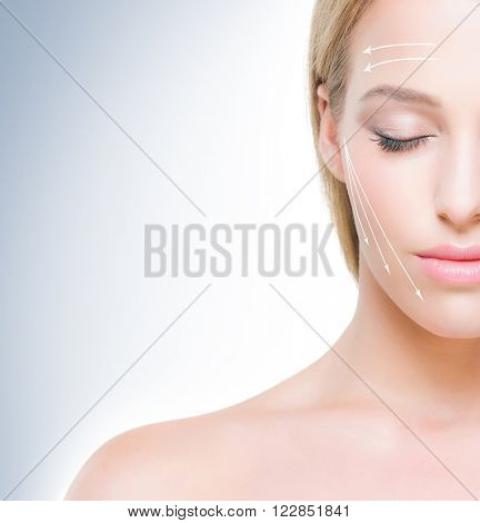 Half face portrait of beautiful girl with pure and smooth skin. Face lifting concept.