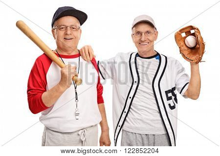 Two seniors in sportswear holding baseball bat and a baseball isolated on white background