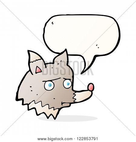 cartoon unhappy wolf with speech bubble