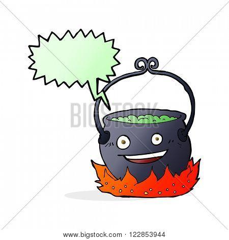 cartoon witch's cauldron with speech bubble