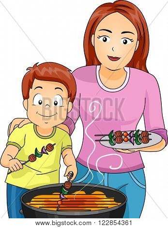 Illustration of a Mother and Son Grilling Barbecues