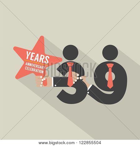 39 Years Anniversary Typography Design Vector Illustration. EPS 10