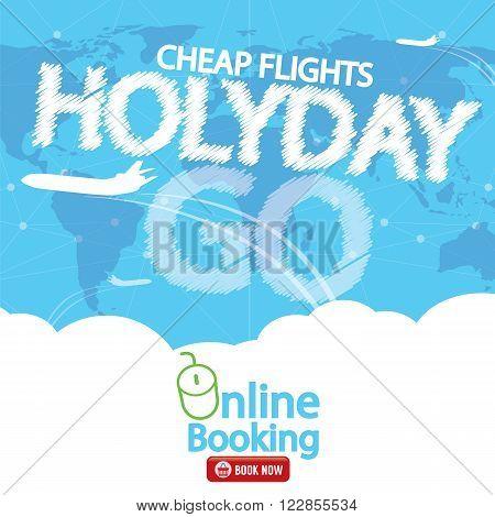Cheap Flight For Sale Banner Vector Illustration. EPS 10