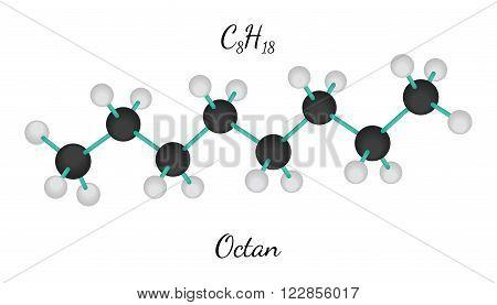 C8H18 octan 3d molecule isolated on white
