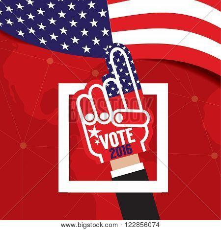 Hand Foam Vote 2016 Vector Illustration. EPS 10