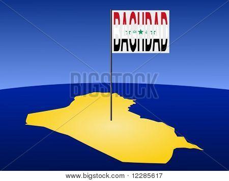 Karte des Irak mit Position von Bagdad durch Flag Pole Abbildung gekennzeichnet