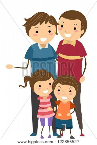 Stickman Illustration of a Family with Same Sex Parents